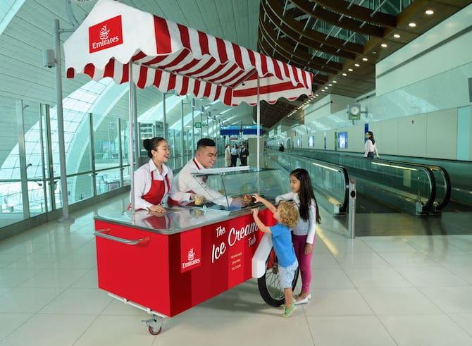 emirates ice cream cart at dxb airport 2018