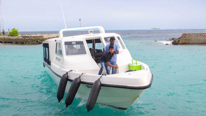 Public speedboat in Maldives
